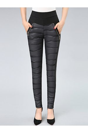 Newchic Casual Patchwork Tight Warn Velvet Pants