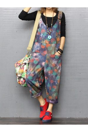 Newchic O-NEWE Casual Printed Strap Pockets Jumpsuits
