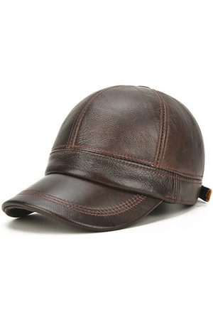 Newchic Men Cowhide Genuine Leather Baseball Cap Winter Warm Flat Hat For The Old Casual Visor Hat