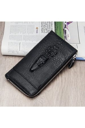 Newchic Genuine Leather Long Business Zipper Phone Wallet Clutch Bag