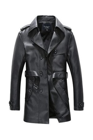 Newchic Mens Fashion Faux Leather Trench Coat
