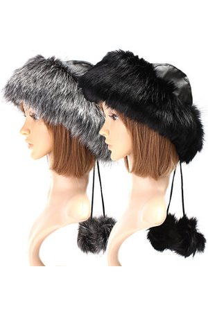 Newchic Women Black Fox Fur Ushanka Cossack Ski Hat Russian Winter Warmer Ear Cap