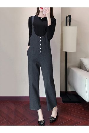 Newchic Solid Two-Piece Suspender Pockets Rompers Jumpsuit