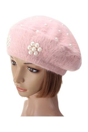 Newchic Soft Rabbit Fur Cotton Beret Flower Pearl Beaded Hat Thermal Knitted Beanie Hat