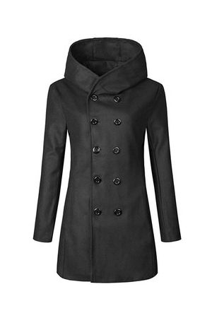 Newchic Men Trench Coats - Double-breasted Wool Trench Coat
