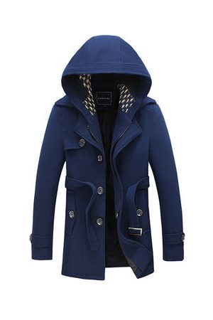 Newchic Men Trench Coats - Detachable Hat Wool Trench Coat