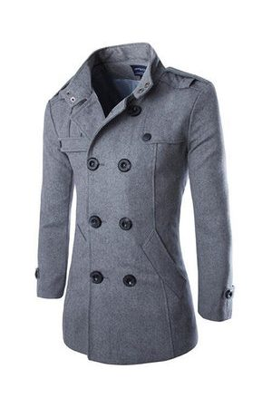 Newchic Men Trench Coats - Mens Fashion Woolen Trench Coat