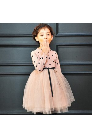 Newchic Black Patchwork Bowknot Dot Kids Dresses