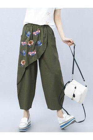 Newchic Embroidered Patchwork Pants For Women