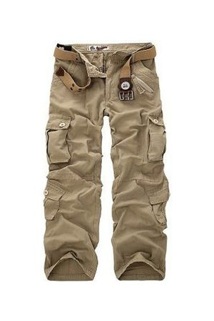 Newchic Men's Plus Size Outdoor Tactical Pants Multi Pockets Casual Cotton Cargo Pants