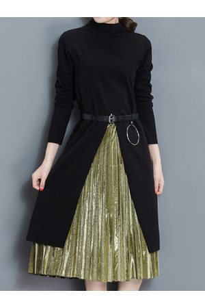 Newchic Belt Slim Women Pleated Dress