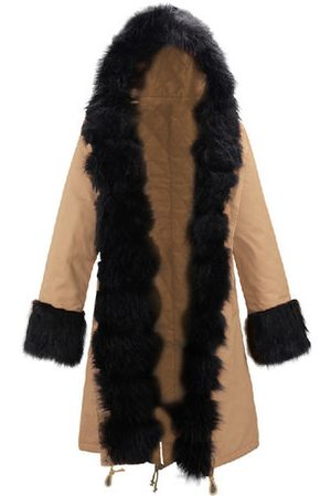 Newchic Women Trench Coats - Faux Fur Coat Casual Hooded Long Trench Jacket