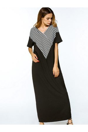 Newchic Short Sleeve Stripe Maxi Dreses