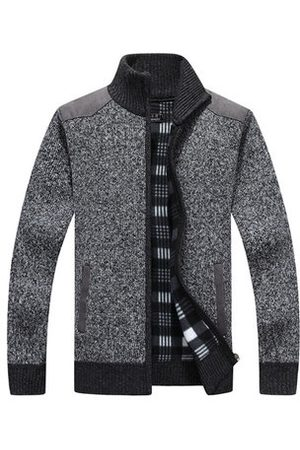 Newchic Men Cardigans - Thick Zip Up Casual Sweater Cardigans