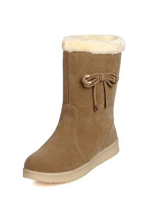 Newchic Women Boots - Bowknot Suede Warm Boots