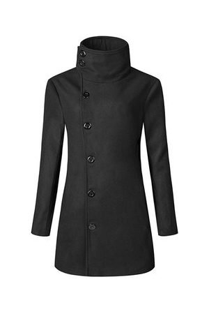 Newchic Men Trench Coats - Mens Solid Slim Fit Double-breasted Trench Coat