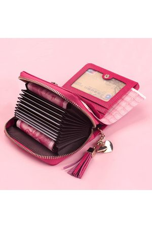 Newchic Women Wallets - Women Genuine Cow Leather Short Wallet 20 Card Slot Purse