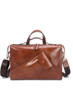 Newchic Men Laptop Bags - Ekphero Genuine Leather Handbag Briefcase Crossbody Bag