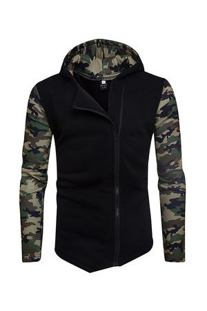 Newchic Men Sweatshirts - Diagonal Zip Up Camouflage Hoodies