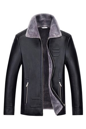 Newchic Simple Design Fleece Leather Jacket