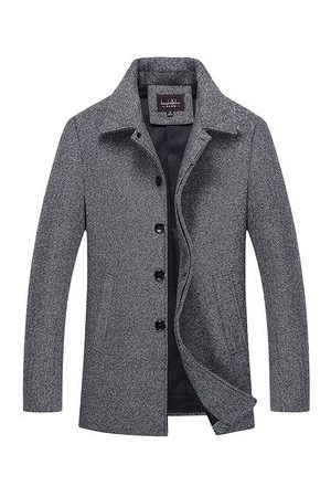 Newchic Men Trench Coats - Woolen Singel-breasted Trench Coat