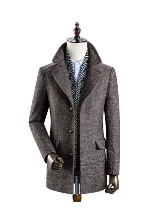 Newchic Mens Business Casual Thicken Woolen Trench Coat