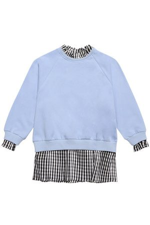 Newchic Blue Girls Plaid Patchwork Sweatshirts