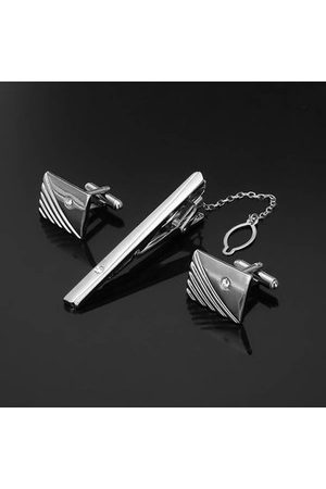 Newchic Men Cufflinks - Men Diamond Tie Clip Cufflinks Suit Business Silver Golden Geometry Pattern Cufflink