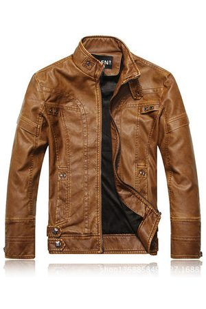 Newchic Men Leather Jackets - Motorcycle Collar Button Jacket