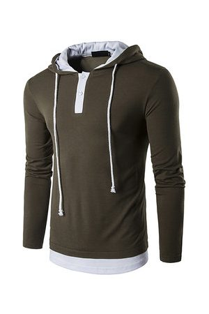Newchic Mens False Two Pieces Hooded T-shirt