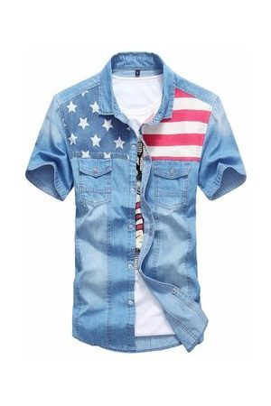 Newchic Mens Spring Summer Patchwork Denim Shirts Front Pockets Casual Cotton Shirts