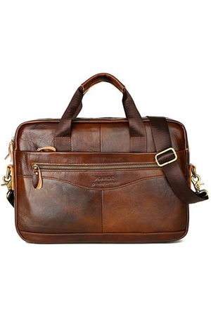 Newchic Men Laptop Bags - Vintage Genuine Leather Handbag Business Crossbody Bag