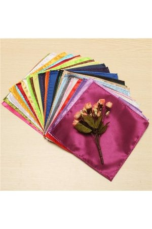 Newchic 26 X Men Formal Silk Satin Pocket Square Hankerchief Hanky Plain Solid Color