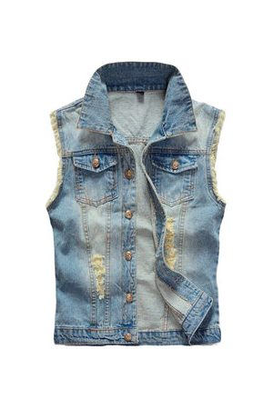 Newchic Large Size Mens Denim Vest Vintage Sleeveless Ripped washed jeans waistcoats