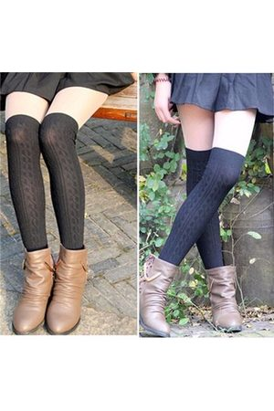 Newchic Women Knitting Cotton Over Knee Thigh Stockings Pantyhose High Socks Tights