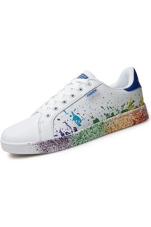 Newchic Big Size White Colorul Lace Up Casual Sport Running Sneakers