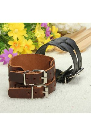 Newchic 2 Layer Punk Leather Bracelet Wristband Cuff Bangle