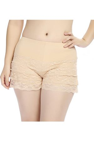 Newchic Women Sexy Lace Breathable Modal Boyshorts Elastic High Waist Safety Shorts Panties