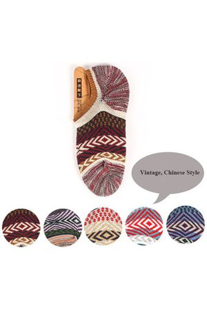 Newchic Men Socks - Chinese Style Vintage Rough Line Casual Cotton Breathable Boat Socks For Men