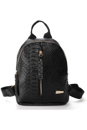 Newchic Women Rucksacks - PU Leather Women Backpack Solid Alligator School Bags