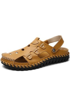 Newchic Men Button Hollow Out Slip On Breathable Flat Beach Sandals