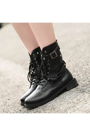 Newchic Soft Round Toe Lace Up Trending Rivet Buckle Boots