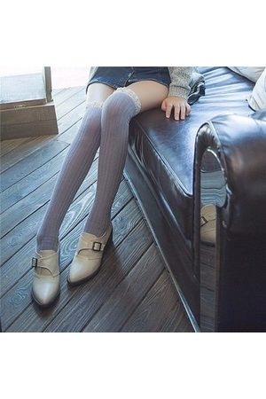 Newchic Crochet Lace Trim Cotton Knit Footed Leg Boot Cuffs Socks Knee High Stockings
