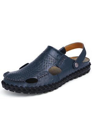 Newchic Men Sandals - Men Beach Breathable Hollow Out Slip On Two Way Wearing Leather Sandals