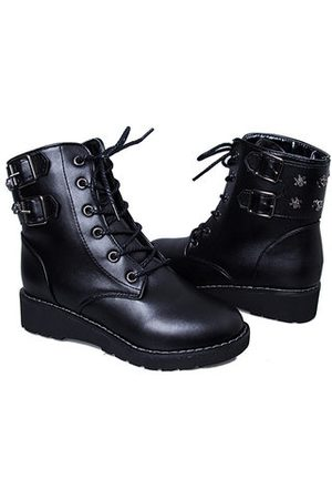 Newchic Mid Heel Wild Round Toe Boots Lace Up Ankle Boots For Women