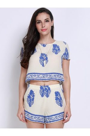 Newchic Women Casual Flora Printing Short Sleeve O Neck Short Suit
