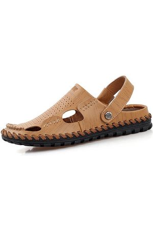 Newchic Men Leather Hollow Out Breathable Two Way Wearing Slip On Beach Slipper Sandals