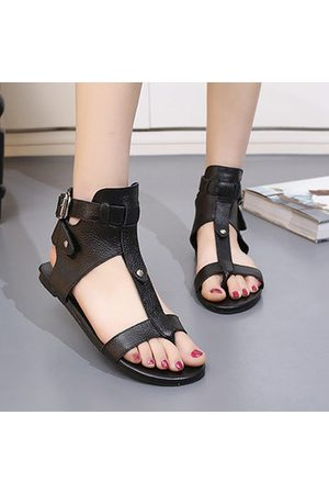 Newchic Women Sandals - Leather Hollow Out Peep Toe Buckle Ankle Flat Roman Sandals Gladiators