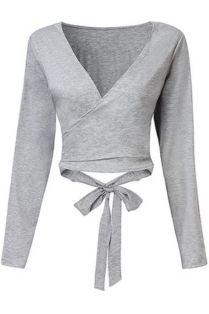 Newchic Women Sexy Bowknot V-neck Long Sleeve Solid Color Tops