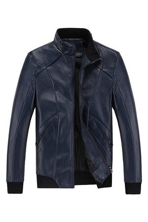 Newchic Men Leather Jackets - Business Outdoor PU Leather Solid Color Casual Rib Cuff Stand Collar Jacket For Men